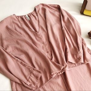 ZARA TRF Pink Button Down Long Sleeve Tunic Top
